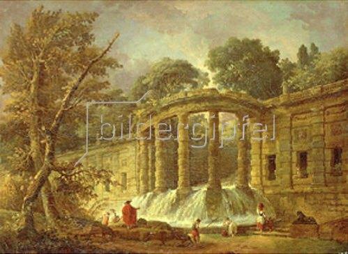 Hubert Robert: Pavillon mit Kaskade. 1760.