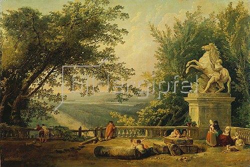 Hubert Robert: Alte Terrasse mit Standbild eines Pferdebändigers. 1780.