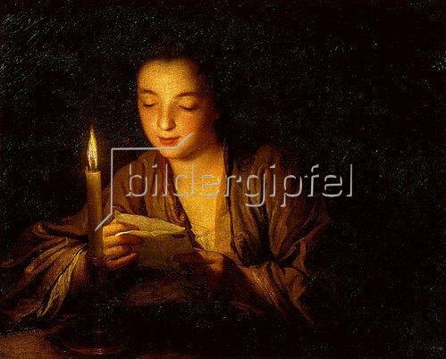Jean Baptiste Santerre: Mädchen, bei Kerzenlicht einen Brief lesend. Um 1700.