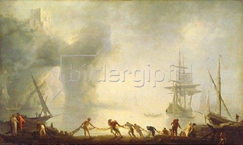 Claude Joseph Vernet: Morgennebel und Netze einholende Fischer auf Capri. Um 1745.