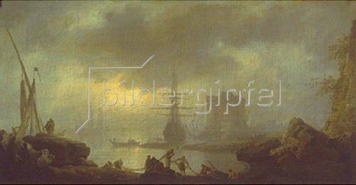 Claude Joseph Vernet: Neblige Stimmung am Hafen mit Netze einholenden Fischern.