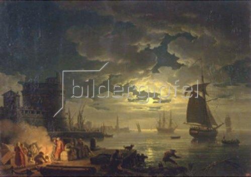 Claude Joseph Vernet: Der Hafen von Palermo bei Mondschein. 1769.