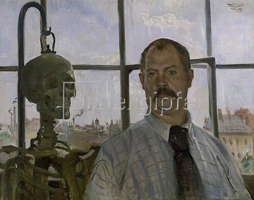 Lovis Corinth: Selbstbildnis mit Skelett. 1896