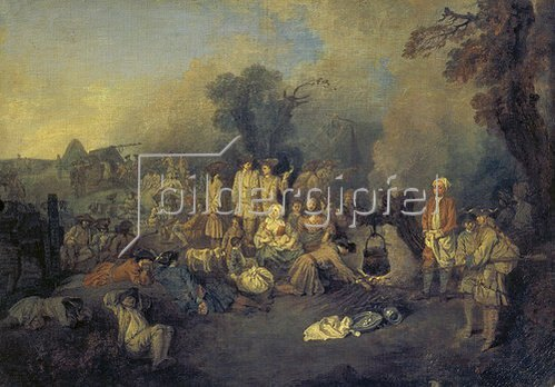 Jean Antoine Watteau: Grosses Biwak. Um 1710