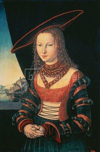 Lucas Cranach d.Ä.: Bildnis einer Frau mit grossem Hut. 1526.