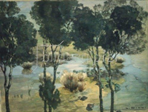 Ludwig Dill: Wasserlandschaft mit Baumspiegelung. 1900.