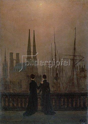 Caspar David Friedrich: Abendlicher Hafen (die Geschwister). 1818/1820.