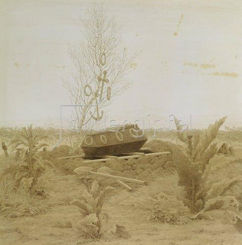 Caspar David Friedrich: Sarg auf einem frischen Grab. Um 1836