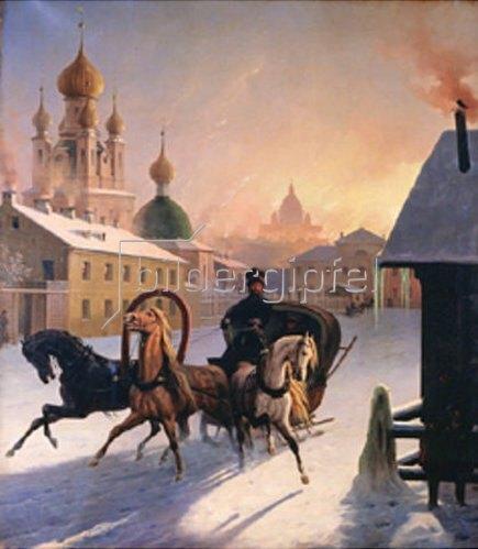 Carl Hampeln: Troika in einer winterlichen Strasse von St.Petersburg. 1850-er Jahre