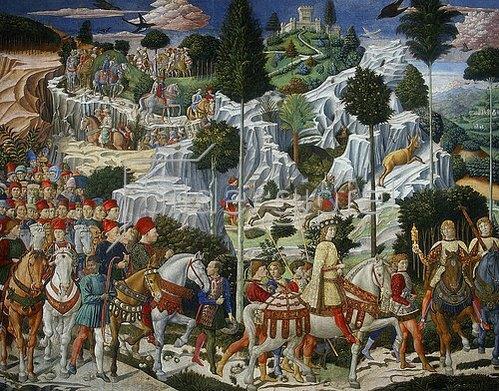 Benozzo Gozzoli: Detail aus dem Zug der heiligen drei Könige.