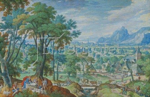 Hans Bol: Landschaft mit Jakob am Brunnen