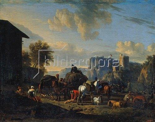 Nicolaes Berchem: Fahrzeuge und Lasttiere bei der Rast