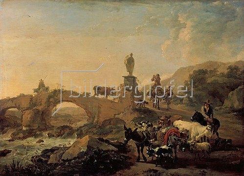 Nicolaes Berchem: Italienische Landschaft mit Brücke. 1656