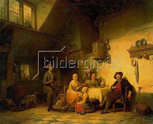 Adriaen de Braeckelaer: Eine holländische Familie beim Musizieren. 1854