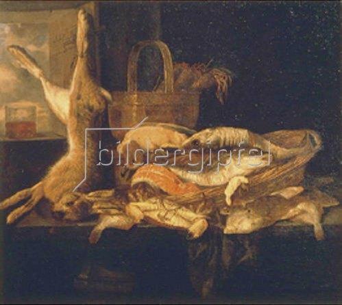 Abraham van Beyeren: Stillleben mit Fischen und totem Hasen. 1655