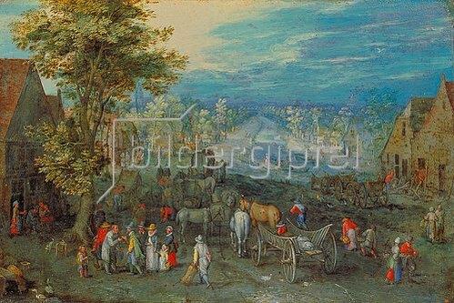 Jan Brueghel d.Ä.: Landschaft mit Fuhrwerken und Blick auf einen Fluss.