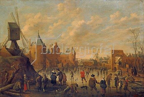 Joost Cornelisz Droochsloot: Winter in einer holländischen Stadt mit Eisläufern