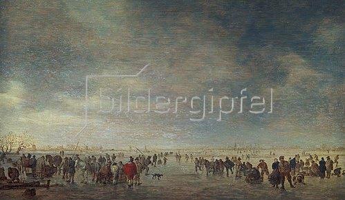 Jan van Goyen: Eisfläche mit vielen Schlittschuhläufern. 1630/1640