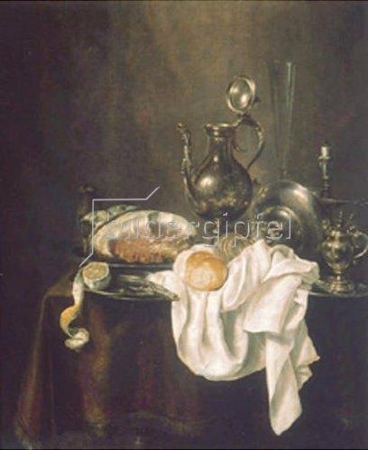 Willem Claesz Heda: Frühstücks-Stillleben mit Schinken und Silbergeschirr. 1649