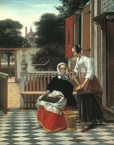 Pieter de Hooch: Dame mit Dienstmagd. 1660