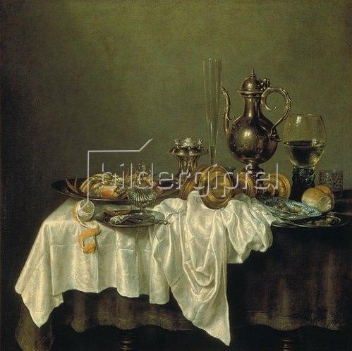 Willem Claesz Heda: Frühstücks-Stillleben mit Krabbe. 1648