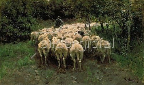 Anton Mauve: Ziehende Schafherde im Wald