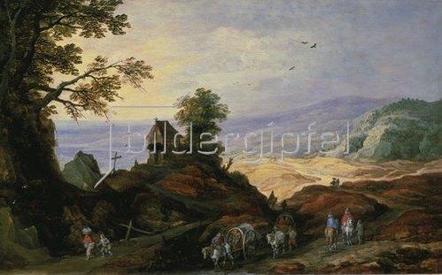 Joos de Momper d.J.: Landschaft mit einer Kapelle auf einem Hügel.
