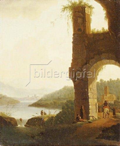 Isaak de Moucheron: Romantische Landschaft mit Torbogen