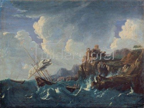 Pieter Mulier (Tempesta): Seesturm an einer Felsenküste mit Schiffswrack. 1680er Jahre