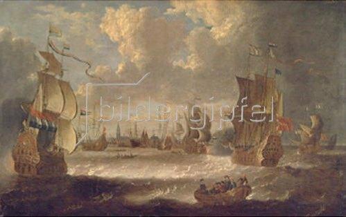 Abraham J Storck: Segelschiffe in der Lagune