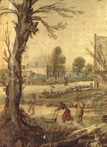 Esaias van de Velde: Winterszene (mit Schubschlitten auf dem Eis). 1620.