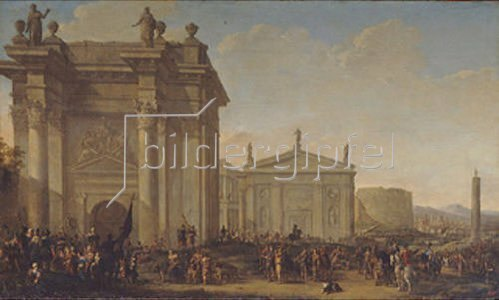 Willem van de Velde d.J.: Triumphzug in antiker Landschaft.