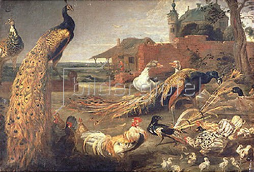 Paul de Vos: Eine Krähe in Pfauenfedern.