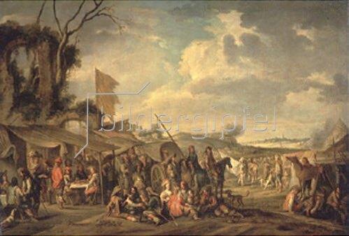 Cornelis de Wael: Militärlager neben einer Ruine.