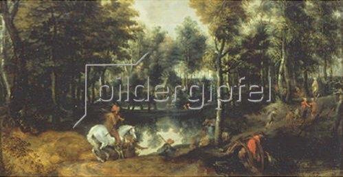Jan Wildens: Schimmelreiter in Waldlandschaft. 1620-er Jahre.