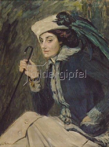 Julie Wolfthorn: Dame mit Stock. 1912.