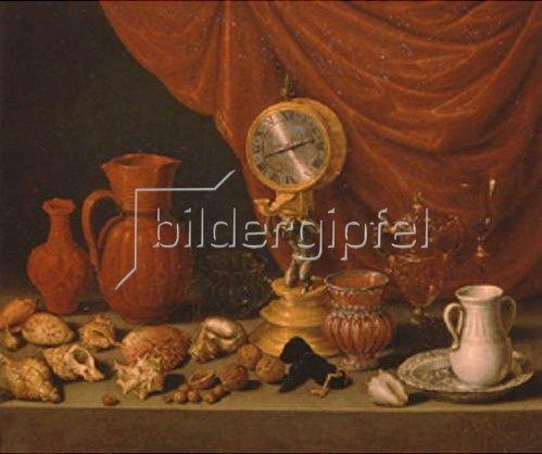 Antonio de Pereda: Stillleben mit Uhr. 1652.