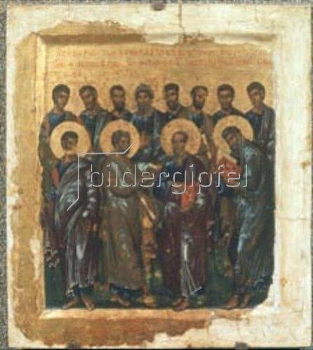 byzantinisch Ikone: Synaxe der Zwölf Apostel (1. Drittel 14. Jahrhundert).