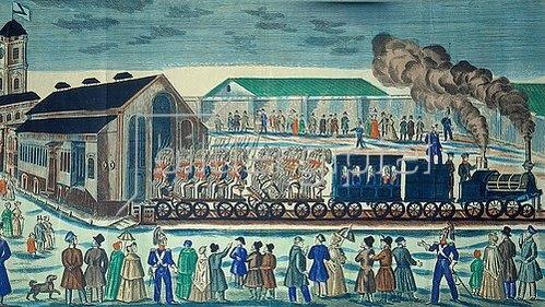 Anonym: Abfahrt der St. Petersburger Eisenbahn von Moskau. 1860.