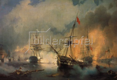 Konstant.Iwan Aiwassowskij: Die Seeschlacht von Navarin, 1827. 1846.
