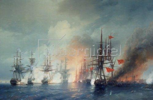 Konstant.Iwan Aiwassowskij: Russisch-Türkische Seeschlacht von Sinop am 18. November 1853. 1853.