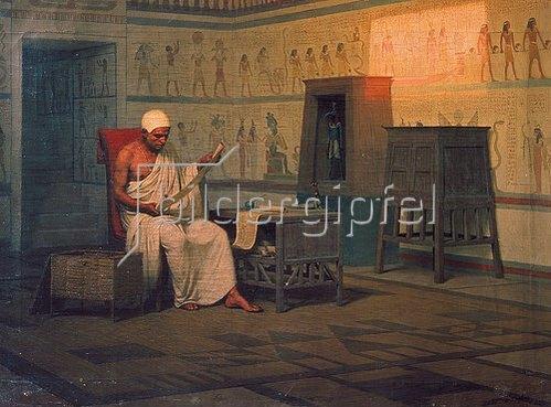Stephan Bakalovitsch: Ägyptischer Priester beim Studium einer Papyrus-Rolle. Nach 1903.