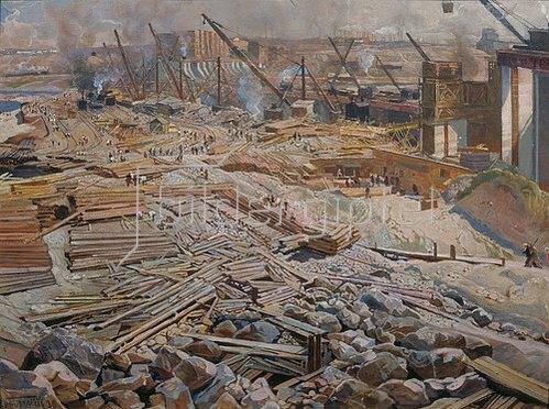 Isaak Brodskij: Ansicht der Grossbaustelle Dnjeprostroj. 1930