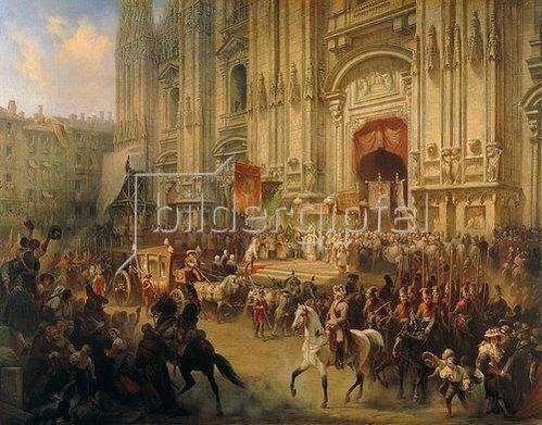 Adolf Charlemagne: Der feierliche Empfang von A. Suvorov in Mailand im April 1799.