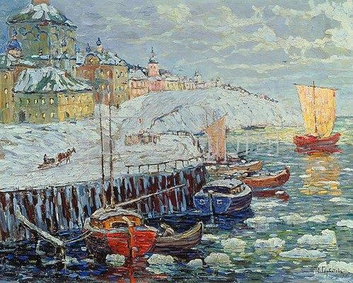 Konstantin Gorbatov: Winterliche Anlegestelle einer alten russischen Stadt. 1915.