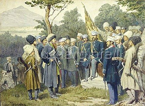 Alexej Kivschenko: Der kaukasische Heerführer Shamil ergibt sich dem Fürsten Barjatinsky. 1880.