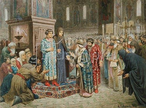 Alexej Kivschenko: Die Volksversammlung beruft Michail Romanow zum Herrscher. 1880.
