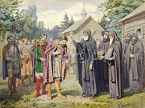 Alexej Kivschenko: Fürst Dimitry bei Sergej von Radonesch vor der Schlacht gegen die Tataren. 1880