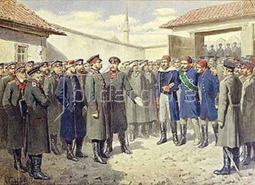 Alexej Kivschenko: Verwundeter osmanischer Pascha nach dem Fall von Plevna vor Zar Alex. II. 1880