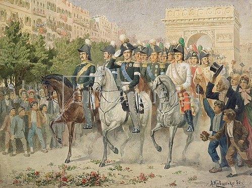 Alexej Kivschenko: Russische und alliierte Truppen beim Einzug in Paris. 1880.